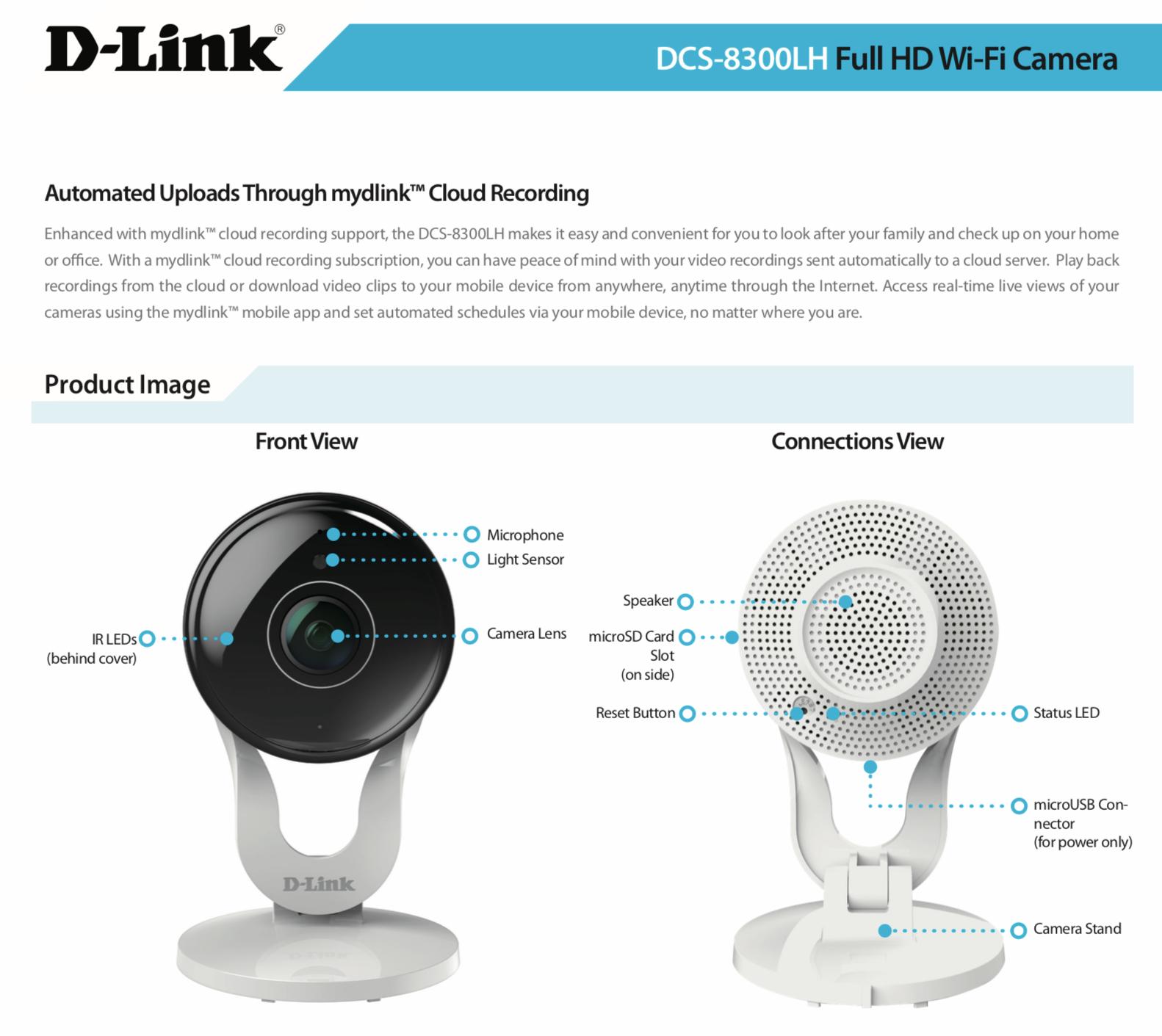 D-Link mydlink DCS-8300LH Network Camera - Monochrome, Color