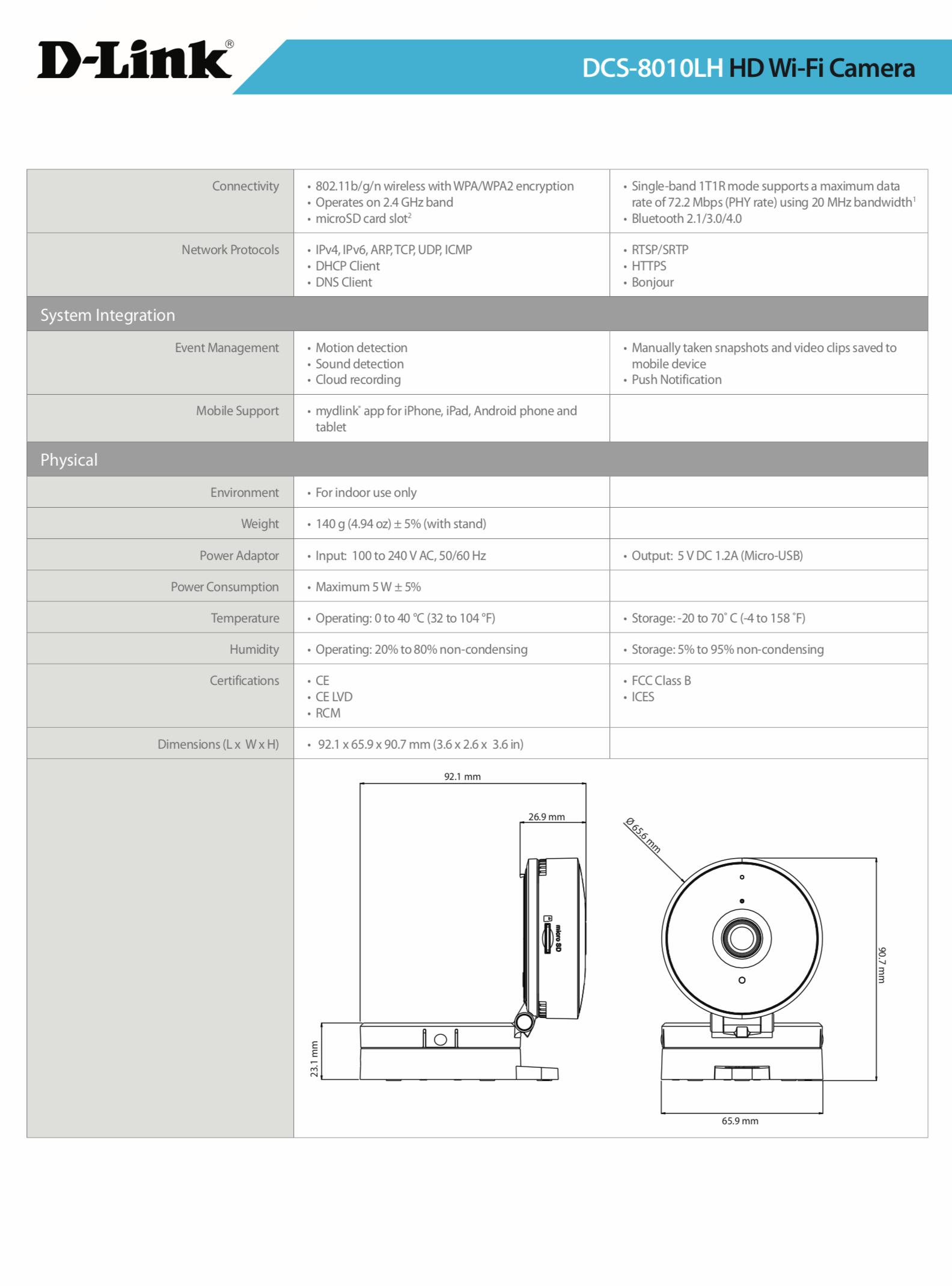 D-Link mydlink DCS-8010LH 1 Megapixel Network Camera - Monochrome, Color